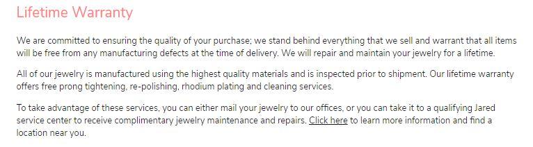 James Allen warranty